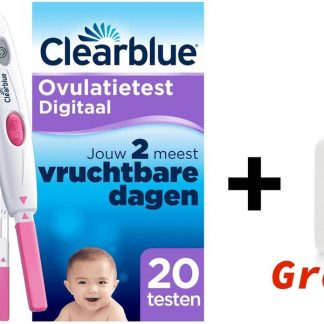 Clearblue Digitaal Ovulatietestset (OVS) met 20 testen + 1x CHILLY WASEMULSIE GEL GRATIS